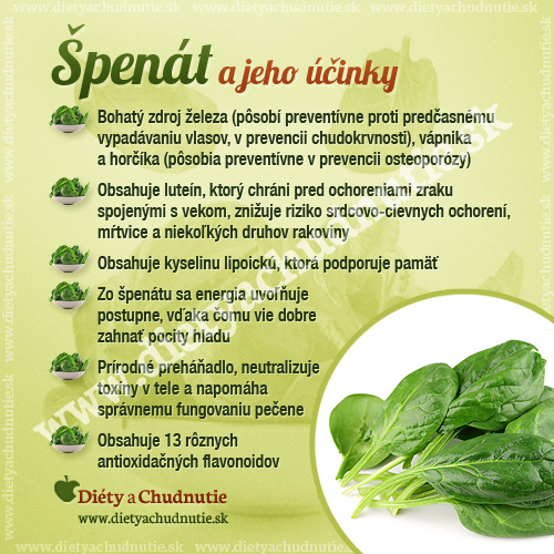 špenát na chudnutie a zdravie človeka